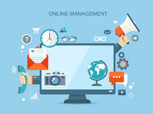 Online management flat illustration with icons Royalty Free Stock Images