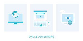 Online markeing concept icon set. Illustration Stock Photo
