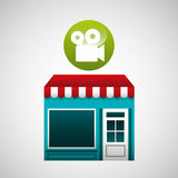 Online market buying movie graphic Royalty Free Stock Photo