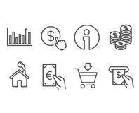 Online market, Finance and Coins icons. Bar diagram, Buy currency and Atm service signs. Set of Online market, Finance and Coins icons. Bar diagram, Buy Stock Image