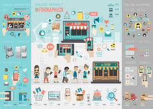 Online Market Infographic Set With Charts And Other Elements. Stock Photos