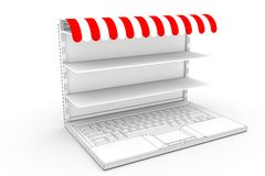 Online market shelves Stock Images