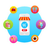 Online market in smartphone icon Royalty Free Stock Image