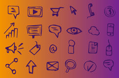 Online marketing, advertising and seo hand-drawn icons. 24 online marketing, advertising and seo hand-drawn icons on violet and yellow background. Suitable to Stock Images