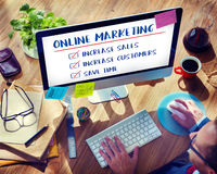 Online Marketing Aims Plan Strategy Concept stock image