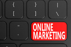 Online Marketing on black keyboard Stock Photography