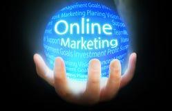 Online Marketing bolblauw als achtergrond Stock Foto