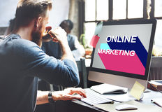 Online Marketing Branding Commercial Digital Concept. People Checking Online Marketing Branding Commercial Digital Stock Images