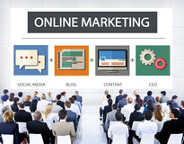 Online Marketing Business Content Strategy Target Concept Stock Photos