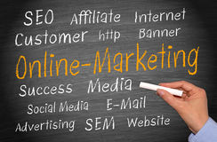 Online marketing chalkboard. Chalkboard or blackboard emphasizing the words Online-Marketing, with several words related to this topic Stock Images