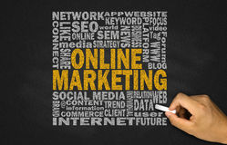 online marketing concept on blackboard Stock Photos