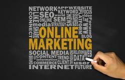 Online marketing concept on blackboard Stock Photos