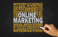 online marketing concept on blackboard Royalty Free Stock Photo