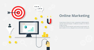 Online marketing concept internet bisiness and advertising icons -  illustration. Stock Images
