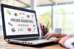 Online Marketing Concept On Laptop Monitor Stock Photo