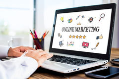 Online Marketing Concept On Laptop Monitor Royalty Free Stock Photos