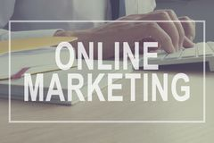 Online Marketing concept. Marketer is working. Branding Strategy. Online Marketing concept. Marketer is working on a computer. Branding Strategy royalty free stock photo
