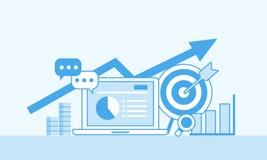 Online marketing concept, monokleur Strategie en rapport van online het winkelen of online campagne vector illustratie