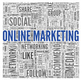 Online marketing concept in word tag cloud stock illustration