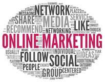 Online marketing concept in word tag cloud Stock Photo
