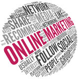 Online marketing concept in word tag cloud Royalty Free Stock Photo