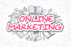 Online Marketing - Doodle Magenta Text. Business Concept. Stock Images