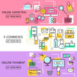 Online Marketing,E-Commerce,Online Payment Banners. Internet and mobile marketing concept. For web and mobile phone services and a. Pps.Vector Line Illustration Royalty Free Stock Photos