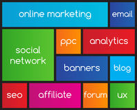 Online marketing flat icons. With metro style Stock Image