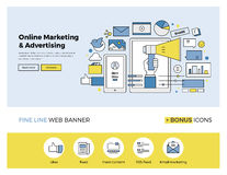 Online marketing flat line banner Stock Photography