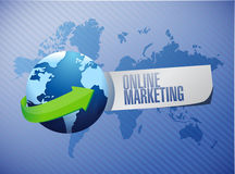 Online marketing globe sign illustration Royalty Free Stock Image