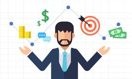 Online marketing graph with business man, Digital marketing and business icon. Flat  illustration Stock Photography