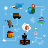 Online marketing. Illustration in flat style Stock Photography
