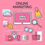 Online Marketing. Internet and mobile marketing concept. For web and mobile phone services and apps.Vector Line Illustration. Stock Images