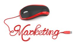 Online marketing. Mouse and text marketing Stock Image