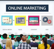 Online Marketing Strategy Branding Commerce Advertising Concept. Diverse People Listening to Discussion Online Marketing Strategy royalty free stock photo