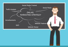 Online marketing strategy concepts. A man present about online marketing strategy concepts royalty free illustration