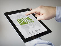 Online marketing on a tablet Royalty Free Stock Images