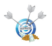 Online marketing target cash sign Royalty Free Stock Image