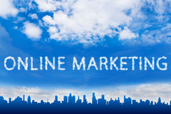 Online marketing text on cloud Stock Photo