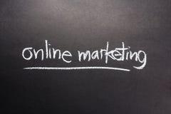 Online marketing. Topic, handwritten with chalk Stock Photos