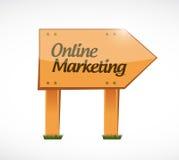 Online marketing wood sign illustration Royalty Free Stock Photo