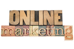 Online marketing in wood type Stock Images