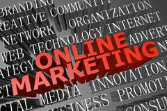 Online marketing woordwolk stock foto