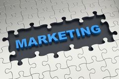 Marketing online. Online Marketing. Word marketing and puzzle pieces Royalty Free Stock Photo
