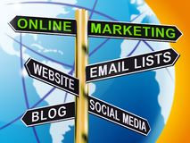 Online Marketingowy kierunkowskaz Pokazuje blog stronom internetowym Ogólnospołecznych środki 3d ilustracja wektor