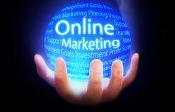 Online Marketingowy kuli ziemskiej tła błękit Obrazy Royalty Free