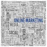 Online marketingowy pojęcie w słowo etykietki chmurze Zdjęcia Royalty Free