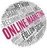 Online marketingowy pojęcie w słowo etykietki chmurze Zdjęcie Royalty Free
