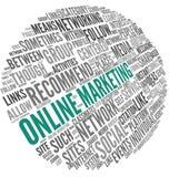 Online marketingowy pojęcie w słowo etykietki chmurze Zdjęcie Stock