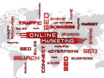Online-Marketings-Kreuzworträtsel mit Weltkartehintergrund Abbildung 3D Lizenzfreie Stockbilder